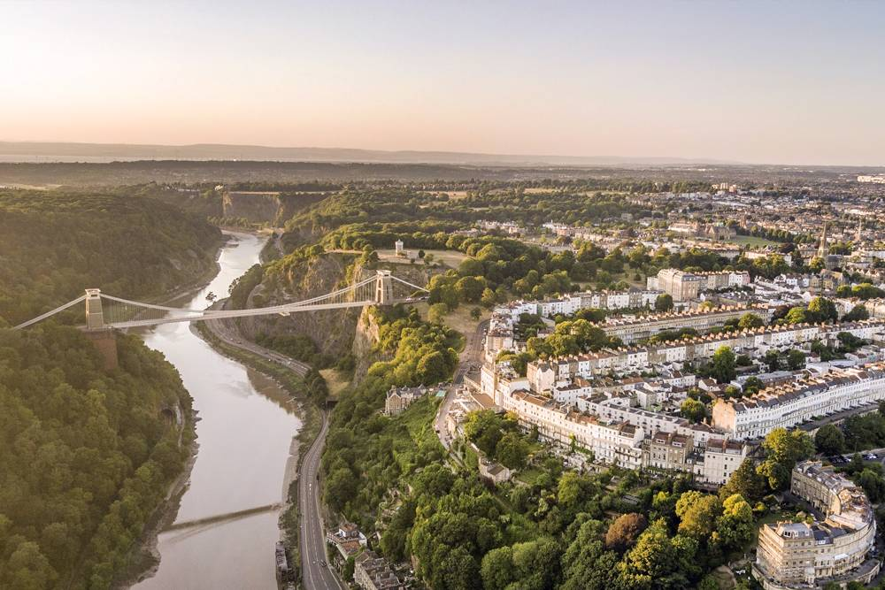 a drone image of bristol at sunset